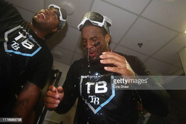 Yandy Diaz of the Tampa Bay Rays celebrates in the locker room after defeating the Oakland Athletics 5-1 in the American League Wild Card Game at...