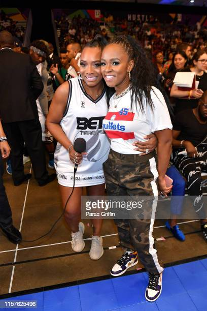 Yandy Smith and Katlyn Nichol attend the BETX Celebrity Basketball Game Sponsored By Sprite during the BET Experience at Los Angeles Convention...