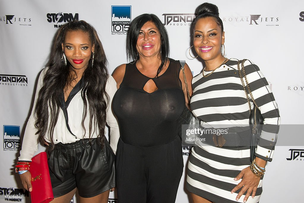 Yandy Smith, Angela 'Big Ang' Raiola, and Raqi Thunda attend Renee Graziano's Celebrity Dinner Party at Midtown 1015 on July 10, 2013 in New York City.