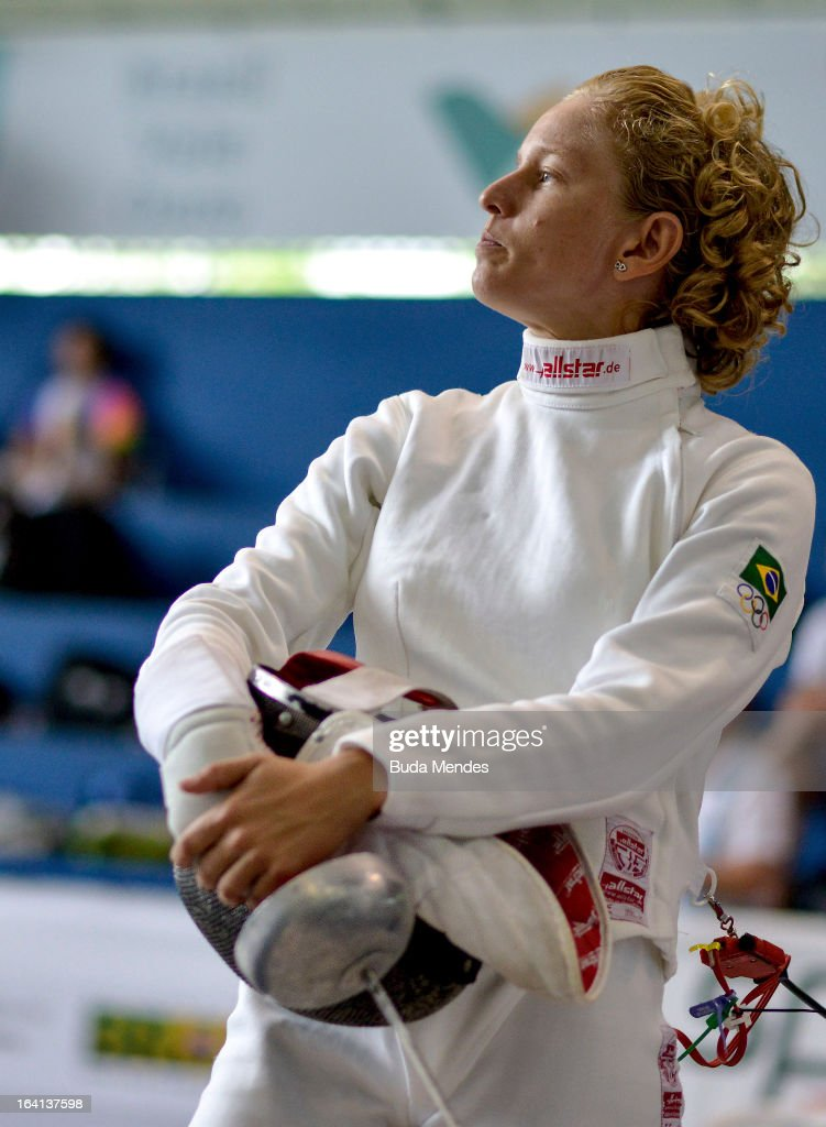 Yane Marques of Brazil looks on prior to the fencing competition in the Women's Pentathlon during the Modern Pentathlon World Cup Series 2013 at Complexo Deodoro on March 20, 2013 in Rio de Janeiro, Brazil.