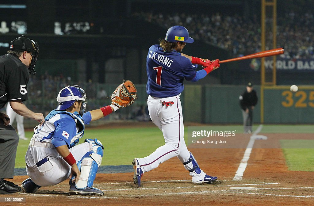 Yang Dai-Kang of Chinese Taipei bats in the fifth inning during the World Baseball Classic First Round Group B match between Chinese Taipei and South Korea at Intercontinental Baseball Stadium on March 5, 2013 in Taichung, Taiwan.