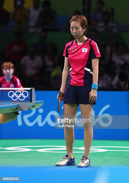 Yang Haeun of Korea looks dejected after losing match point during the Table Tennis Women's Team Quarter Final Match between China and Democratic...