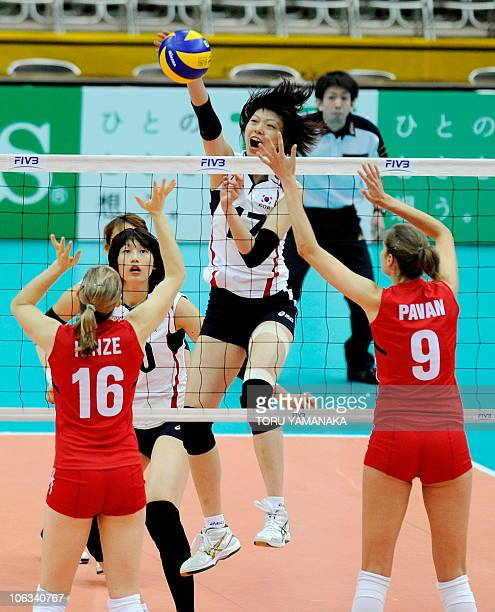 Yang HyoJin of South Korea spikes the ball through Jennifer Hinze and Sarah Pavan of Canada during their first round match of the World Women's...
