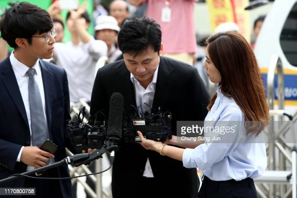 Yang Hyun-suk the former CEO of K-pop music label YG Entertainment arrives at police station on August 29, 2019 in Seoul, South Korea. The Seoul...