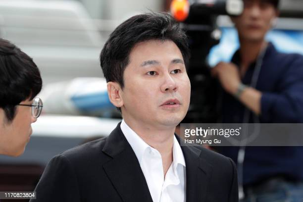 Yang Hyun-Suk, the former CEO of K-pop music label YG Entertainment arrives at police station on August 29, 2019 in Seoul, South Korea. The Seoul...