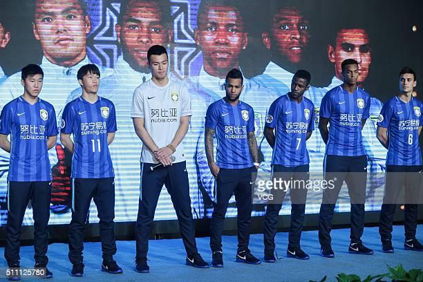 Yang Jiawei Xie Pengfei Gu Chao Alex Teixeira Ramires Jo and Trent Sainsbury of Jiangsu Suning FC attend the mobilization meeting for the AFC...