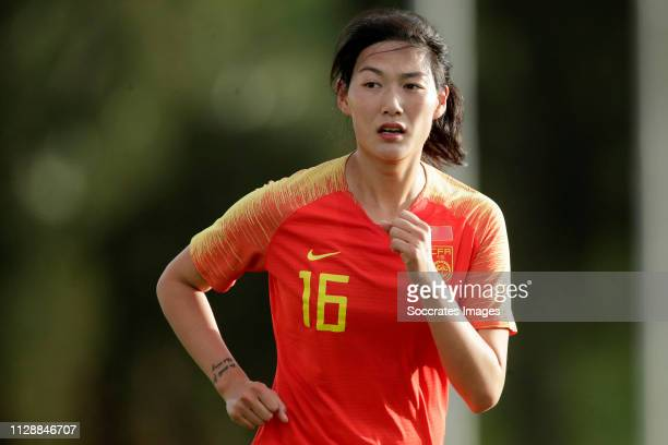 Yang Lina of China Women during the Algarve Cup Women match between China PR v Holland at the Estadio Municipal de Albufeira on March 6, 2019 in...