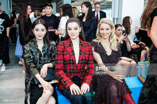 Yang Mil Hailee Steinfeld and Diana Argon attend the MICHAEL KORS COLLECTION Spring 2019 Runway Show Asia Pacific Front Row Faces at Pier 17 on...