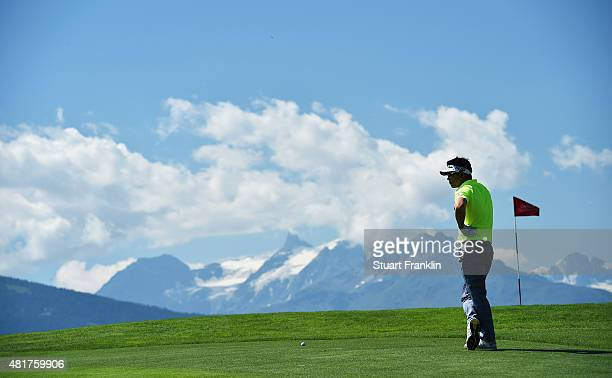 Yang of Korea ponders a shot during the second round of the Omega European Masters at CranssurSierre Golf Club on July 24 2015 in CransMontana...
