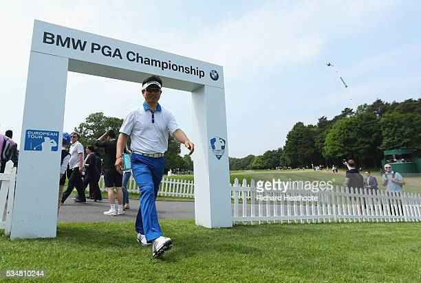 E Yang of Korea walks to the 1st tee during day three of the BMW PGA Championship at Wentworth on May 28 2016 in Virginia Water England