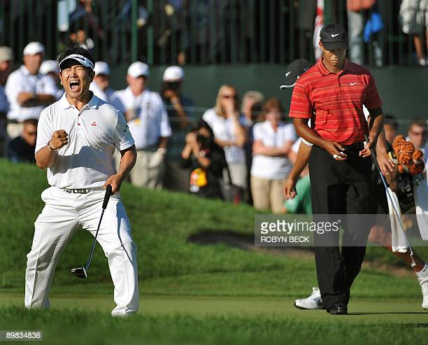 Yang of South Korea after sinking his putt to win August 16 ,2009 at the 91st PGA Championship at the Hazeltine National Golf Club in Chaska,...