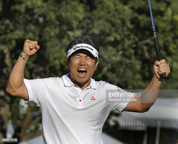 Yang of South Korea after winning August 16 ,2009 at the 91st PGA Championship at the Hazeltine National Golf Club in Chaska, Minnesota. AFP PHOTO /...