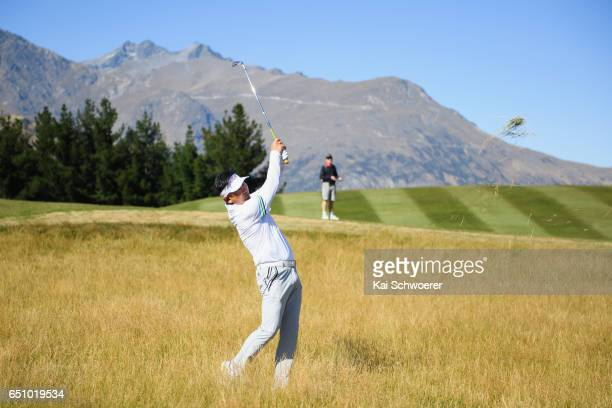 E Yang of South Korea plays a shot during day two of the New Zealand Open at The Hills on March 10 2017 in Queenstown New Zealand