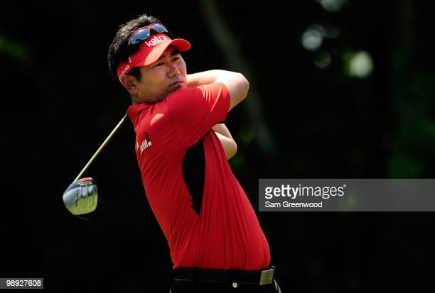 E Yang of South Korea plays his tee shot on the seventh hole during the third round of THE PLAYERS Championship held at THE PLAYERS Stadium course at...