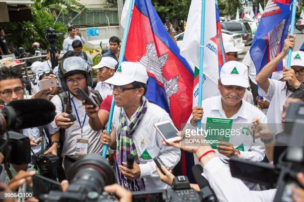 Yang Saing Koma seen speaking to the press Grassroots Democratic Party is running for the July 2018 elections with Yang Saing Koma as candidate They...