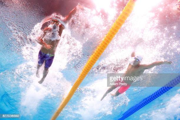 Yang Sun of China and Gabriele Detti of Italy competes during the Men's 800m Freestyle Heats on day twelve of the Budapest 2017 FINA World...