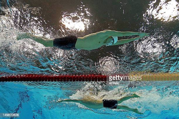 Yang Sun of China and Ryan Cochrane of Canada compete in the Men's 1500m Freestyle Final on Day 8 of the London 2012 Olympic Games at the Aquatics...
