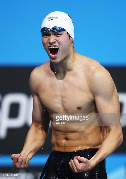Yang Sun of China celebrates after winning the Swimming Men's400mFreestyle Final on day nine of the 15th FINA World Championships at Palau Sant...