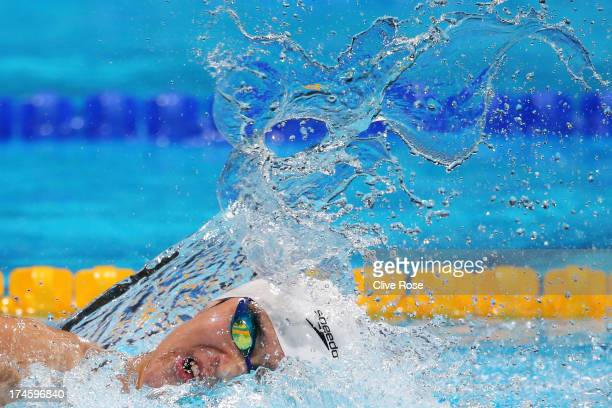 Yang Sun of China competes during the Swimming Men's 400m Freestyle Heat 5 on day nine of the 15th FINA World Championships at Palau Sant Jordi on...