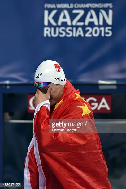 Yang Sun of China reacts after winning the gold medal in the Men's 800m Freestyle Final on day twelve of the 16th FINA World Championships at the...