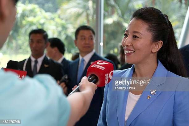 Yang Yang Ambassador of the Beijing 2022 Winter Olympic Games host city Bid Committee speaks to the media after their presentation at the 128th IOC...