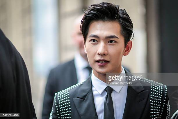 Yang Yang is seen after the Valentino show during Paris Fashion Week Menswear Spring/Summer 2017 on June 22 2016 in Paris France