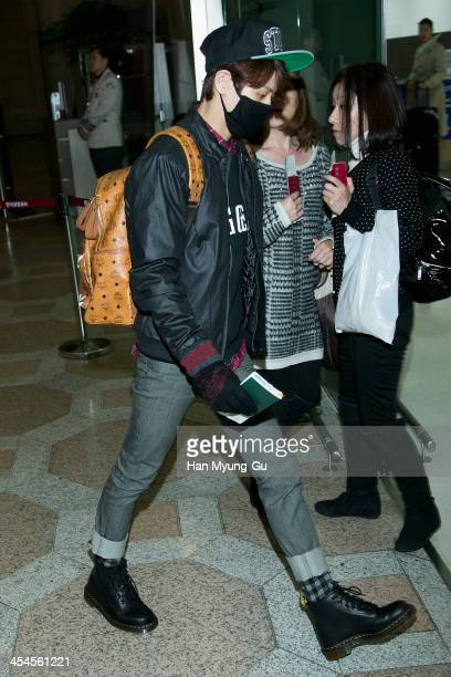 Yang YoSeop of South Korean boy band Beast is seen on departure at Gimpo International Airport on December 9 2013 in Seoul South Korea