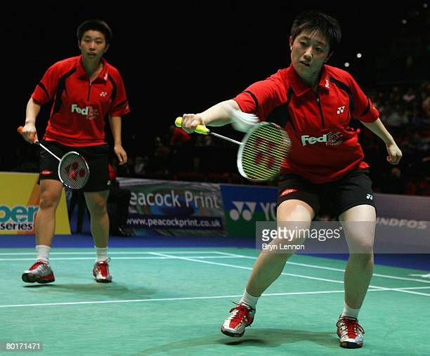 Yang Yu and Jing Du of China in action during the Women's Doubles semi-finals of the Yonex All England Open Badminton Championship at the NIA on...
