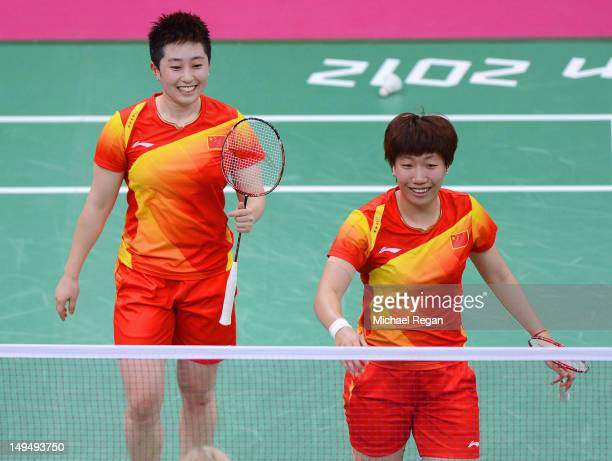 Yang Yu and Xiaoli Wang of China celebrate winning against Valeria Sorokina and Nina Vislova of Russia in Women's Doubles Badminton on Day 2 of the...