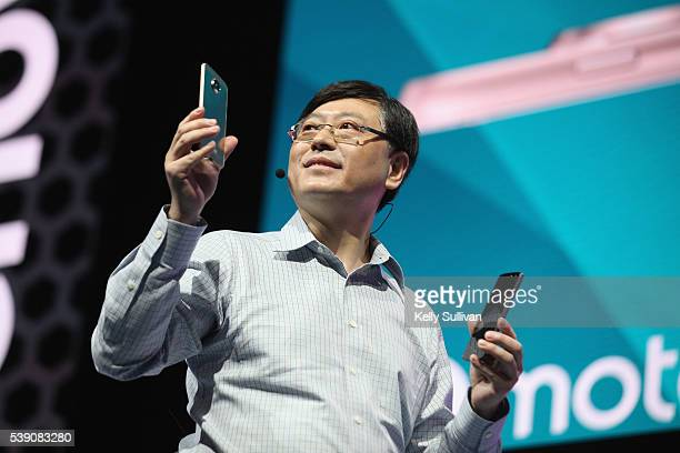 Yang Yuanqing, Lenovo CEO, reveals the Moto Z Family and Moto Mods ecosystem at Lenovo Tech World at The Masonic Auditorium on June 9, 2016 in San...