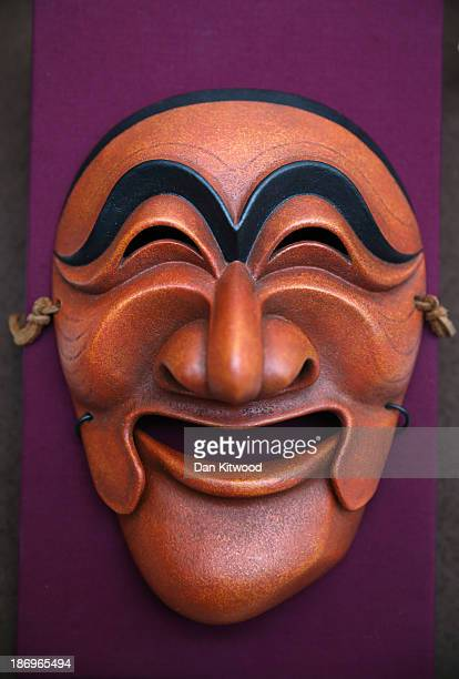 Yangban mask that was presented to Queen Elizabeth II by the Mayor of Andong Jung Dongho in Korea in 1999 is displayed at an exhibition of Korean...