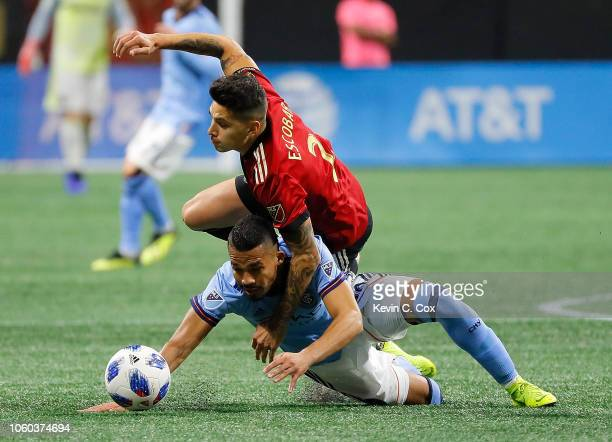 Yangel Herrera of New York City challenges Franco Escobar of Atlanta United during the Eastern Conference Semifinals between New York City FC and...