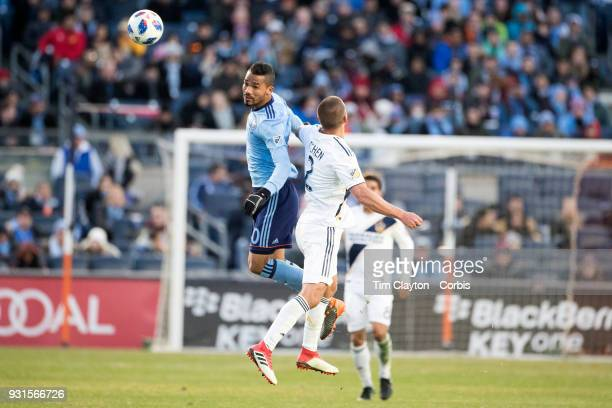 Yangel Herrera of New York City is challenged by Perry Kitchen of Los Angeles Galaxy during the New York City FC Vs LA Galaxy regular season MLS game...