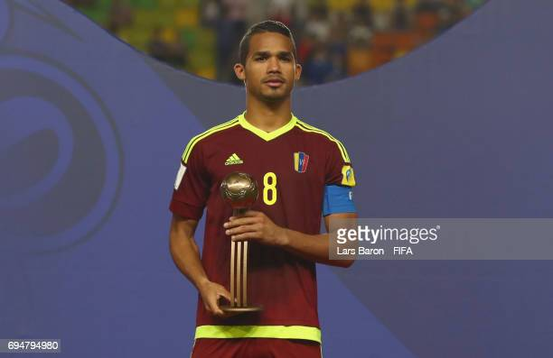 Yangel Herrera of Venezuela poses with the Bronze Ball Award after the FIFA U20 World Cup Korea Republic 2017 Final between Venezuela and England at...