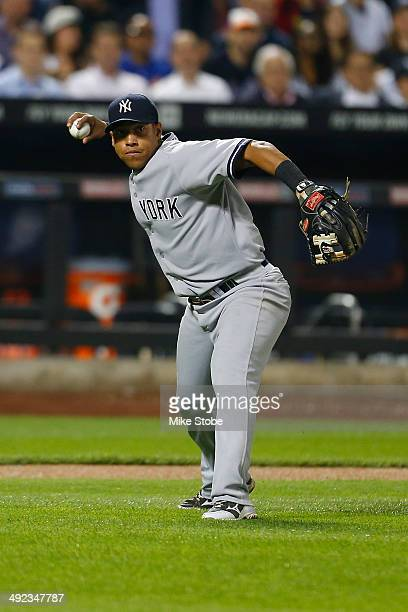 Yangervis Solarte of the New York Yankees in action against the New York Yankees on May 15 2014 at Citi Field in the Flushing neighborhood of the...