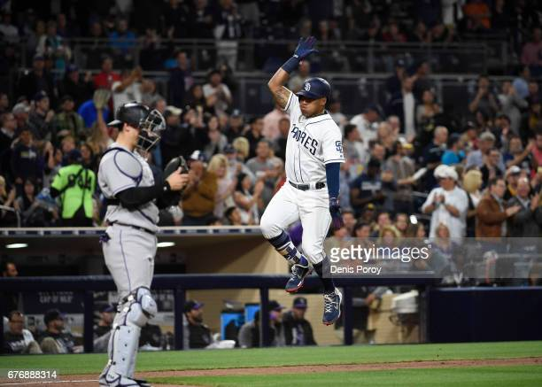 Yangervis Solarte of the San Diego Padres after hitting a tworun home run against the Colorado Rockies in the sixth inning of a baseball game at...