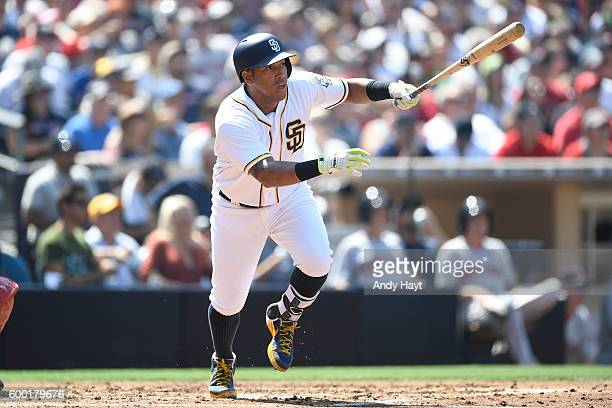 Yangervis Solarte of the San Diego Padres hits during the game against the Boston Red Sox at PETCO Park on September 5 2016 in San Diego California