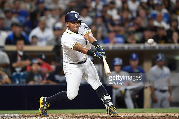 Yangervis Solarte of the San Diego Padres hits during the game against the Los Angeles Dodgers at PETCO Park on September 29 2016 in San Diego...