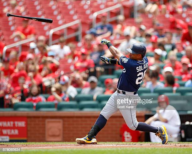 Yangervis Solarte of the San Diego Padres loses his bat while batting during the first inning of game one of a doubleheader against the St Louis...