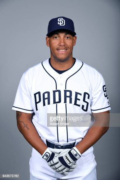 Yangervis Solarte of the San Diego Padres poses during Photo Day on Sunday February 19 2017 at Peoria Stadium in Peoria Arizona