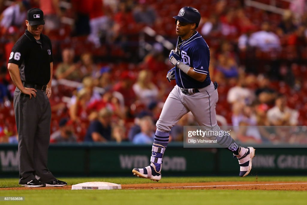 Yangervis Solarte #26 of the San Diego Padres rounds third base after hitting a two-run home run against the St. Louis Cardinals in the eighth inning at Busch Stadium on August 22, 2017 in St. Louis, Missouri.