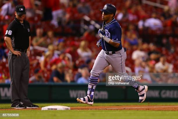 Yangervis Solarte of the San Diego Padres rounds third base after hitting a tworun home run against the St Louis Cardinals in the eighth inning at...