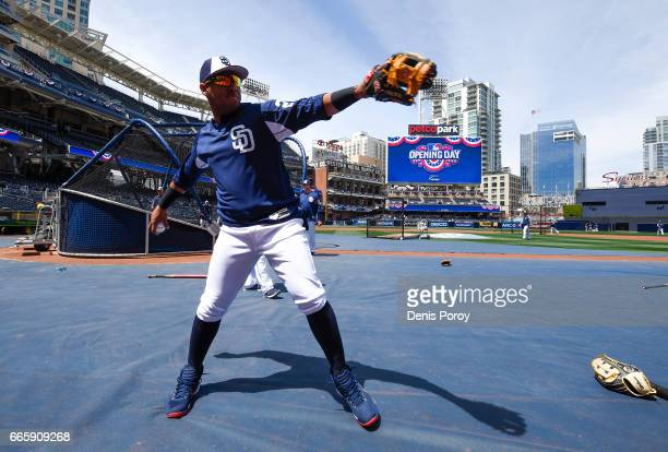 Yangervis Solarte of the San Diego Padres warmsup on opening day before a baseball game between the San Francisco Giants and the San Diego Padres at...