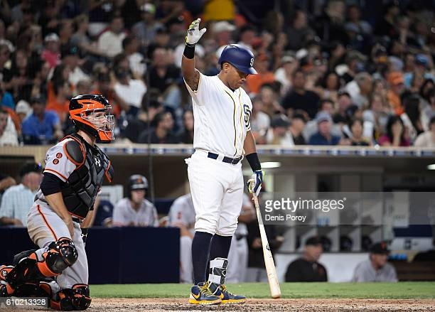 Yangervis Solarte of the San Diego Padres waves to the crowd as he comes up to bat during the seventh inning of a baseball game against the San...