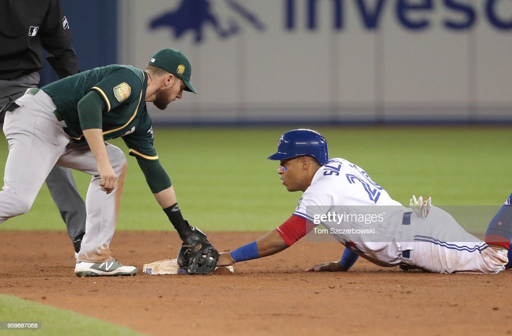 Yangervis Solarte #26 of the Toronto Blue Jays advances safely to second base on a sacrifice fly by Kevin Pillar #11 in the fifth inning during MLB game action as Jed Lowrie #8 of the Oakland Athletics applies the late tag at Rogers Centre on May 17, 2018 in Toronto, Canada.