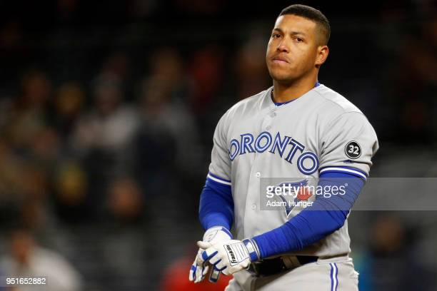 Yangervis Solarte of the Toronto Blue Jays at bat against the New York Yankees during the fifth inning at Yankee Stadium on April 19 2018 in the...