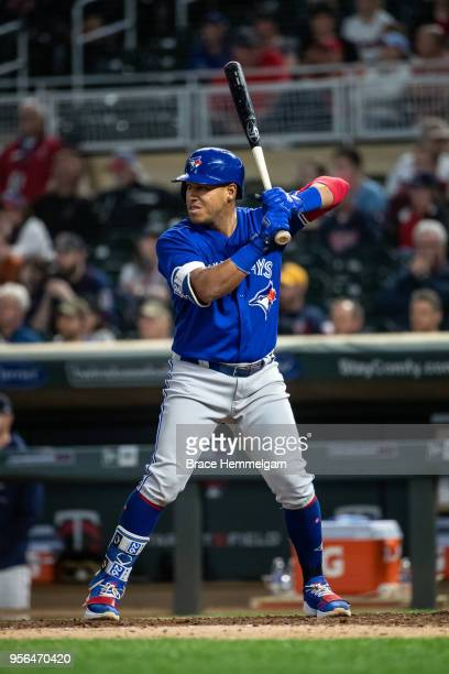 Yangervis Solarte of the Toronto Blue Jays bats against the Minnesota Twins on May 1 2018 at Target Field in Minneapolis Minnesota The Blue Jays...