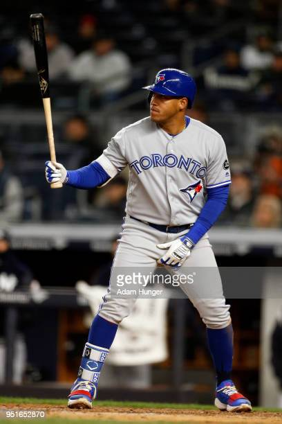 Yangervis Solarte of the Toronto Blue Jays bats against the New York Yankees during the fifth inning at Yankee Stadium on April 19 2018 in the Bronx...
