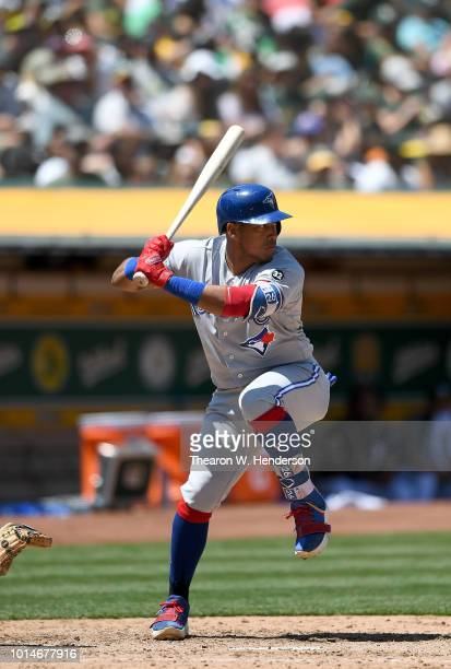 Yangervis Solarte of the Toronto Blue Jays bats against the Oakland Athletics in the top of the six inning at Oakland Alameda Coliseum on August 1...