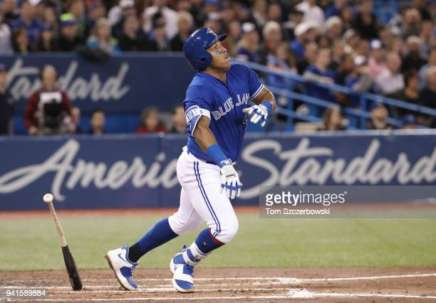 Yangervis Solarte of the Toronto Blue Jays hits a single in the third inning during MLB game action against the Chicago White Sox at Rogers Centre on...